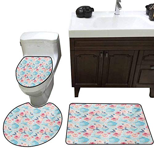 Large Contour pad 3 Piece Set Vintage Flowers Roses Vintage Teapot Cups Leaves with Blue Backdrop Artsy Elongated Toilet Lid Cover Set Baby Blue and Pale Pink]()