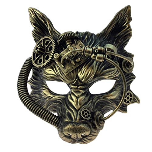 [Storm Buy] Steampunk Wolf Metallic Mask Mad Scientist Time Traveler Animal Masquerade Halloween Costume Cosplay Party mask (Metallic Gold)