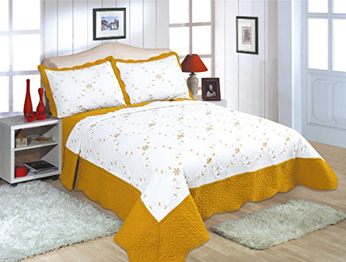 ALL FOR YOU 2-Piece Reversible Bedspread/Coverlet/Quilt Set with Embroideries - Bordered Design (Gold, - Embroidery Bedspread