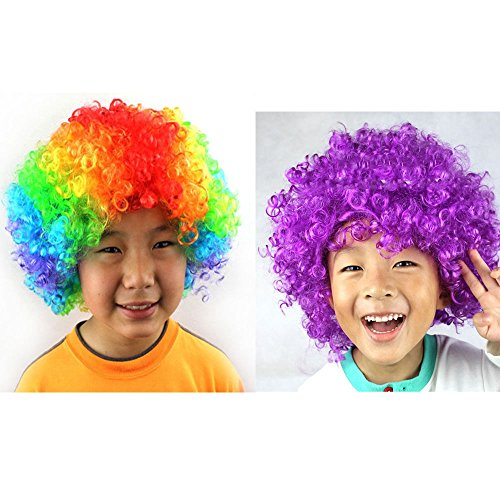 Shallylu 2Pcs Cosplay Kids Adult Clown Wigs Rainbow Curly Costume Wigs For Party