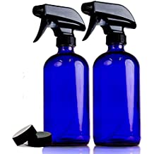 Premium Quality 2-Pack Blue 16 Oz Glass Spray Bottles By Chefland – Water, Body, Hair, Essential Oils, Cleaner, Cosmetics Sprayer W/ 2 Storage Caps & Stream/Spray Modes – Refillable / Squeeze Trigger