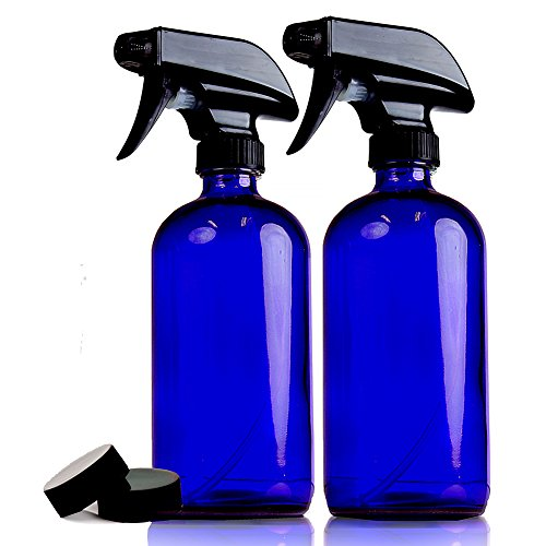 ChefLand Pack of 2 - 16 Oz. Refillable, Blue Cobalt Glass Spray Bottles for Cleaning, Aromatherapy, Organic Beauty and making Solar Water, With Adjustable Black Spray Top And 2 Storage Caps