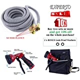 Expandable Garden Hose 25ft, 50ft, 75ft, 100ft, Silver, Red, Blue, Green 3 in 1 KIT - Expanding Hose + Heavy Duty 8 Pattern Metal Watering Nozzle Spray Front Trigger + Hose Storage Bag (75ft, Silver)