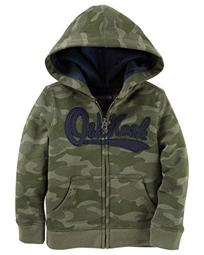 Childrens Camo Fleece Sweatshirt (Osh Kosh Baby Boys' Full Zip Logo Hoodie, Camo, 18 Months)
