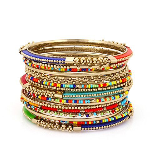 Bangle Stackable (TAZZA GOLD-TONE COLORFUL RAINBOW SEED BEAD 16 PIECES STACKABLE BANGLE SET #BNG20444_GLD-MULTI)