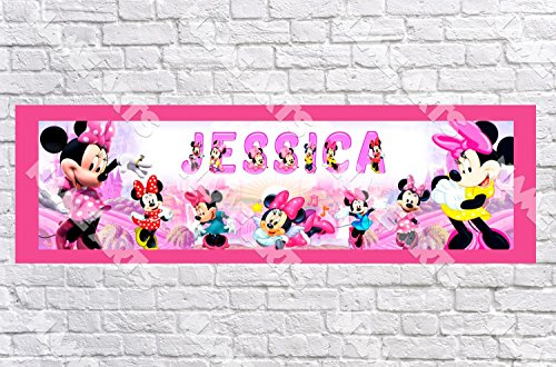 Personalized / Customized Minnie Mouse #2 Name Poster with Border Mat- Home Wall Decor Birthday Party Door Banner