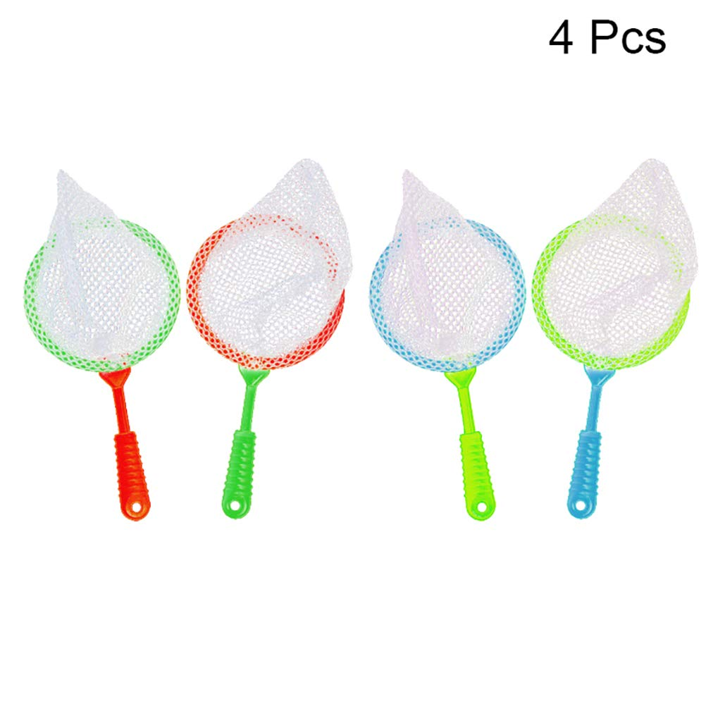 4pcs Childrens Plastic Large Fishing Nets Durable Kids Bug Catcher Nets Insect Collecting Net Bath Toy Adventure Tool Child Park Fishing Tools