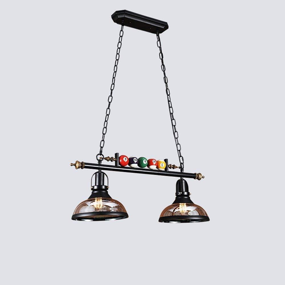 SGWH ㉿ Publicar Minimalista Moderno Solo Cabeza Cristal Pantalla Billar Araña Hierro Forjado Vidrio Billar Hall Cafe Dormitorio Restaurante Lámpara Colgante Ajustable Negro Doble Cabezas Luz de Techo: Amazon.es: Iluminación