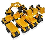 Toy State CAT Caterpillar Construction Toys Mini Machine set of 12 Assorted - Dump Truck, Bulldozer, Wheel Loader and Excavator- individually Packaged Free-Wheeling Vehicles Great As Cake Toppers