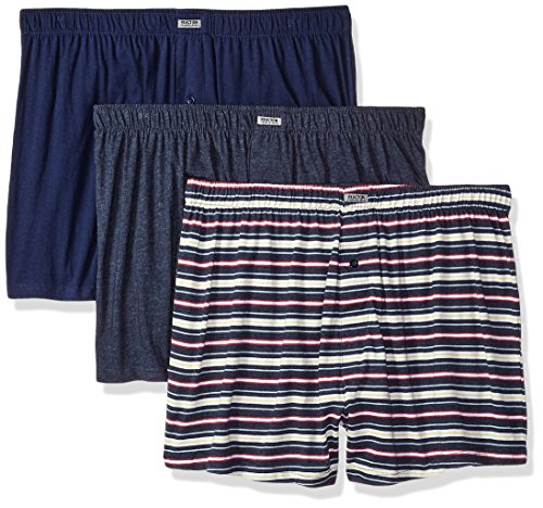 Kenneth Cole REACTION Men's 3 Pack Knit Boxer, Navy, Aqua, Navy, (3 Pack Knit)