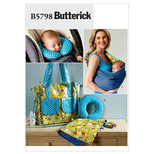 Butterick Patterns B5798OSZ Baby's Changing Pad Sewing Pattern, Neck Support, Carrier and Diaper Bag, Size One ()