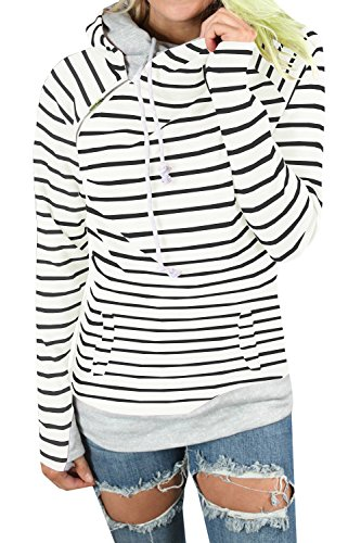 Gobought Womens Long Sleeve Striped Hoodies Cowl Neck Double Hooded Pullover