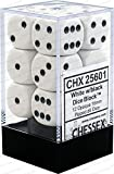 Chessex Opaque 16mm D6 White/Black Dice Block 12 Pipped Dice, Multicolor