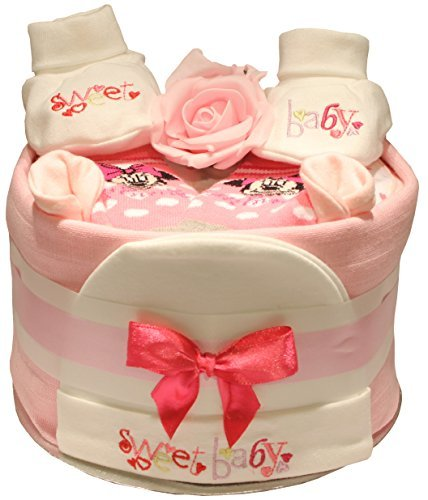 Baby Pink Nappy Cake Embroidered Sweet Baby Design Baby 1 Stop