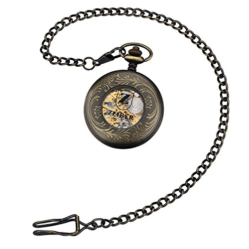 Zeiger+New+Mens+Classic+Mechanical+Steampunk+Pocket+Watch%2C+Stainless+Steel+Copper+Case+Skeleton+Roman+Design%2C+Pocket+Watch+With+Chain+%28Bronze%29