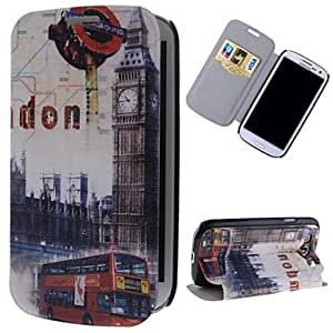 JJE London Clock Tower Pattern PU Leather Full Body Case with Stand and Card Slot for Samsung Galaxy S3 I9300