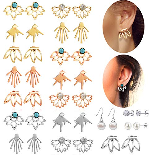 18 Pairs Multiple Dainty Lotus Flower Ear Jacket Earrings-Minimalism CZ Bar Turquoise Studs-White Rose Gold Plated Statement Chic Fashion Stud Earring Set New Year for Teens Girl Women