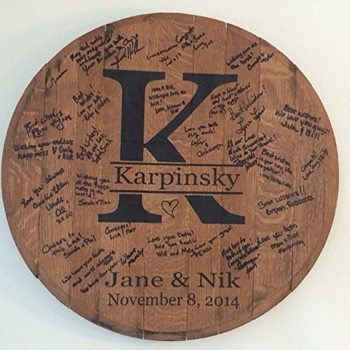 Amazoncom Personalized Bourbon Barrel Head Wedding Guest Book