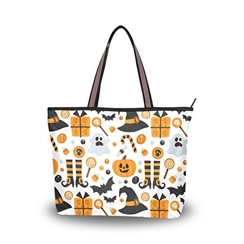 JSTEL Women Large Tote Top Handle Shoulder Bags Halloween Pumpkin Ghost Bat Candy Patern Ladies Handbag ()