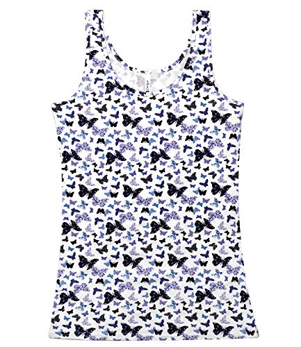 Spandex Graphic Tank Tops for Women Cute Butterfly Tank Tops Juniors(M(US 4), Butterfly/Off ()