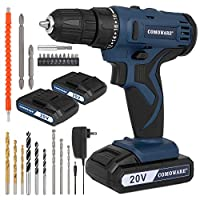 """COMOWARE 20V Power Cordless Drill with 2 Li-ion Batteries & Fast Charger, 2 Variable Speed Drill Driver, 3/8"""" Keyless Chuck, 18+1 Torque Setting, LED Light, MAX 280 In-lbs, 23 Drill Bits Accessories"""