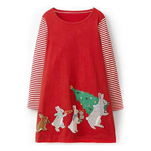 Hongshilian Girls Cotton Long Sleeve Dresses Cute Cartoon Striped Party Dress (6-7Yrs, Rabbit & Christmas) from Hongshilian