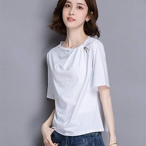 DAIDAINDX Camiseta Blanca De Algodón De Manga Corta Suelta para Mujer De Verano De Color Sólido con Fondo Negro Y Camiseta Negra: Amazon.es: Deportes y aire libre