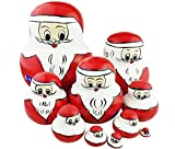Cute Creative Big Belly Shape Smiling Santa Claus With Purple Gloves Handmade Wooden Matryoshka Dolls Russian Nesting Dolls Set 10 Pieces For Kids Toy Birthday Christmas Gift Home Decoration