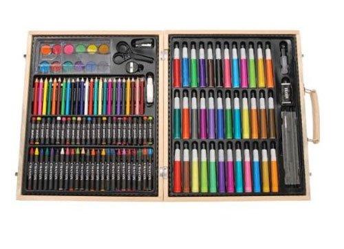 Darice ArtyFacts Portable Art Studio, 131-Piece Deluxe Art Set With Wood -