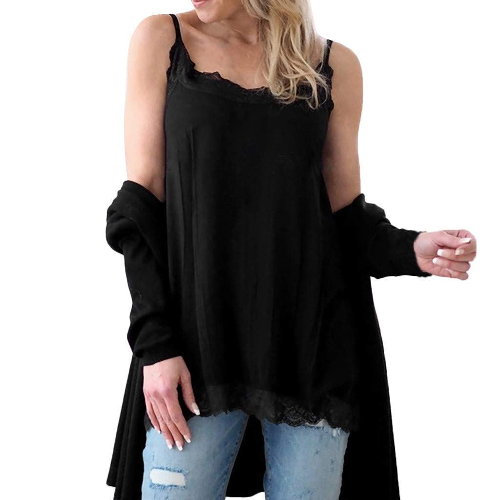 Women Vest Blouse Summer Sleeveless Lace Splice Tanks Perfect to Wear with Jeans and Leggings (Black, S)