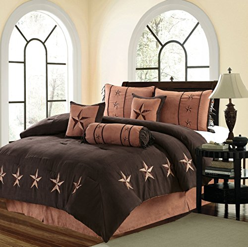 Royal Linen Western Comfort Set - Lone Star Comforter Kit - Set of 7 Pieces - Soft and Comfortable- Brown Color - King & Queen Size Bed(King) (Oversize Queen) ()
