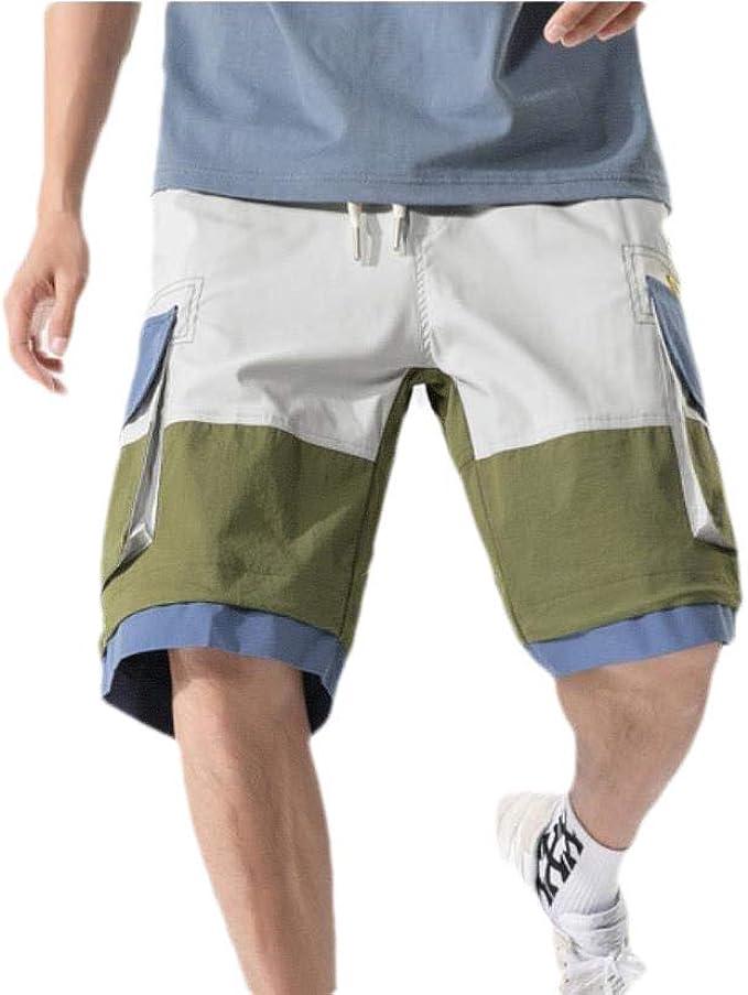 AngelSpace 男性ミドルウエストコントラストショートマルチポケット夏の貨物作業パンツ