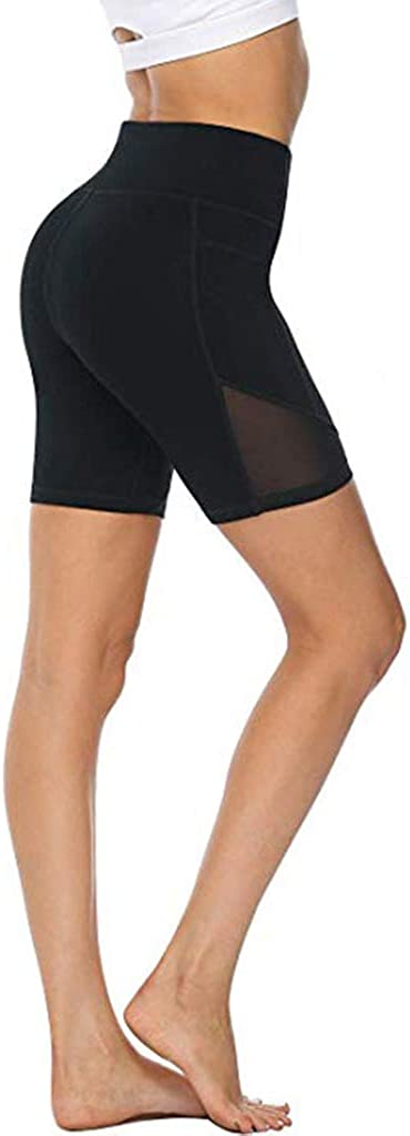 LAZ Womens Yoga Shorts Leggings Gym Shorts Pants 4 Inch High Waisted Cycling Shorts for Women for Workout, Yoga, Cycling or Running with Side Pocket #1-black