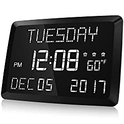 Raynic 11.5 Digital LED Dimmable Calendar Alarm Day Clock with Indoor Temperature, 3 Alarm Options, Dimmable Wall/Desk Clock for Elderly, Memory Loss, and Impaired Vision