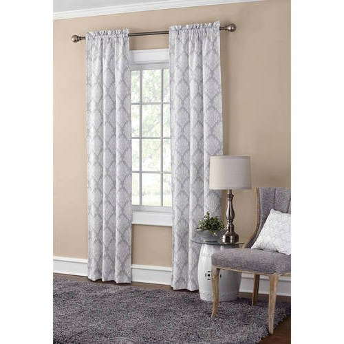 CA 2 Piece Gray Mini Damask Window Curtain Set, 95 Inch Grey White Medallion Moroccan Mandala Abstract Panels Pair, Classic Unique Contemporary Trendy Window Treatment Drapes Rod Pocket, Polyester Review