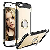 iPhone 6 Plus Case,Aemotoy Protective Covers W 360 Degrees Ring Kickstand Clip Metal Plate Bracket Holster Shockproof Defender Anti-Scratch Phone Cases for iPhone 6 Plus (Gold)