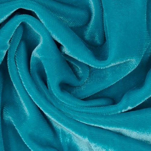 (Stretch Velvet Knit Turquoise Fabric By The)