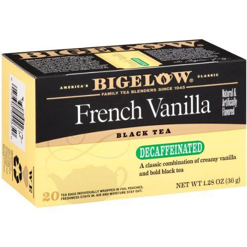 Bigelow Decaffeinated French Vanilla Tea, 20 Bags (Pack of 6), Premium Decaffeinated Black Tea Flavored with Vanilla, Antioxidant-Rich Gluten-Free Caffeine-free Tea in Foil-Wrapped Bags