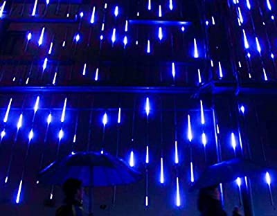 Amicool Meteor Shower Lights, Falling Rain Lights/Icicle Snow String Lights with 30cm 8 Tubes 144 Waterproof LEDs for Wedding Party Holiday and Christmas Decorations