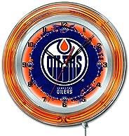 Edmonton Oilers HBS Neon Blue Hockey Battery Powered Wall Clock (19&q