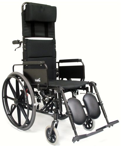 Karman Healthcare KM5000F18 Aluminum Lightweight Reclining Wheelchair, Black, 24 Inches Rear Wheels and 18 Inches Seat Width