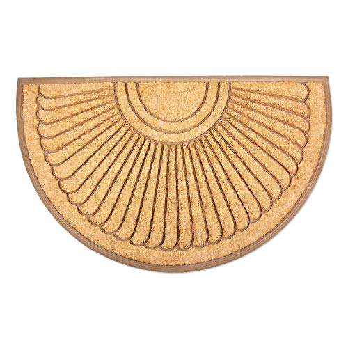 DII 4390 Indoor Outdoor Coir Rubber Easy Clean Entry Way Welcome Doormat, Floor Mat, Rug for Patio, Front, Weather Exterior Doors, 30x48, Sunburst (30 X 48 Doormat)