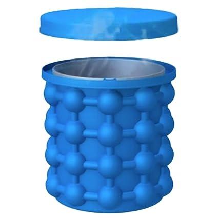 592344ef5d0f3 2 en 1 Cubo de Silicona Cubo de Hielo,Ice Cube Maker Genie con Tapa,  Espacio Revolucionario para Ahorrar Hielo Ice Cube Maker,Cubo de Silicona  Ice ...