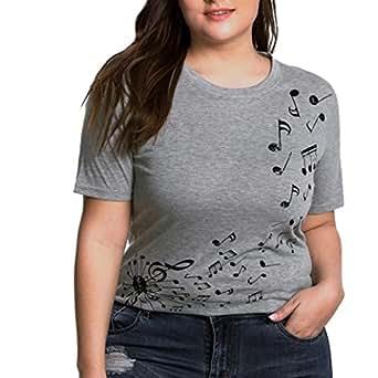Cinnamou Moda para Mujer de Manga Corta Manga Corta con Estampado de Notas Musicales Blusa O-Cuello Camiseta (L)