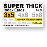 2,500 SUPER THICK index cards / 3''x5'' / 17pt (0.017'') thick 130lb / blank unruled / 97 bright white / note cards, postcards / heavyweight, extra heavy duty, acid-free, 3 X 5 card stock in bulk
