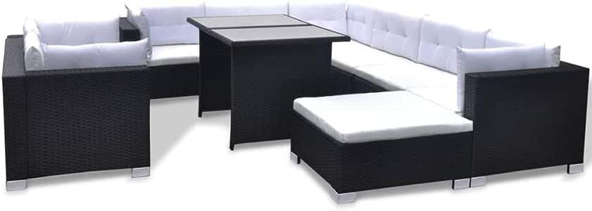 vidaXL Conjunto de Muebles de Jardín 10 Piezas Ratán Sintético Negro Juego Comedor Exterior Mesa y Sillas Patio Porche Terraza Material Estilo Mimbre: Amazon.es: Jardín