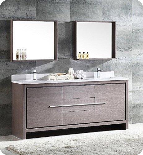 "Bath FVN8172GO Allier 72"" Modern Double Sink Bathroom Vanity with Mirror, Gray Oak"
