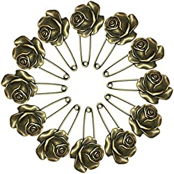 Ababalaya 12 Pcs Decorative Bronze Assorted Safety Pins Vintage Hijab Pins Retro Brooches (Rose)