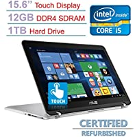 ASUS 15.6'' 2-in-1 Touchscreen Full HD (1920 x 1080) Laptop PC, Intel Core i5-6200U 2.3GHz, 12GB DDR4 SDRAM, 1TB HDD, Bluetooth, Backlit Keyboard, WIFI, HDMI, Windows 10 (Certified Refurbished)