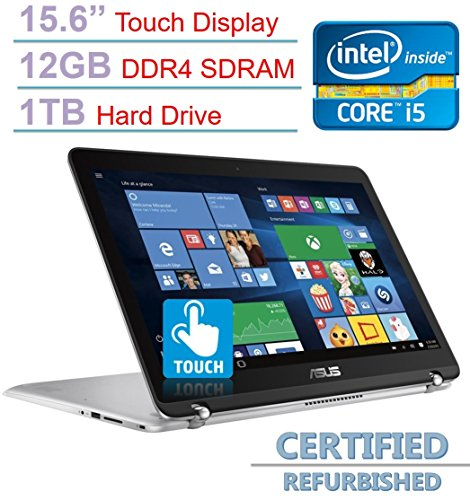 Price comparison product image ASUS 15.6'' 2-in-1 Touchscreen Full HD (1920 x 1080) Laptop PC, Intel Core i5-6200U 2.3GHz, 12GB DDR4 SDRAM, 1TB HDD, Bluetooth, Backlit Keyboard, WIFI, HDMI, Windows 10 (Certified Refurbished)